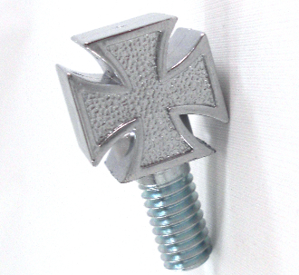 Harley Custom Seat Bolt - Iron Cross - Chrome (T)