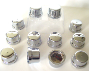 "Chrome Top Hat 1/2"" Bolt & Nut Caps - Set of 12"