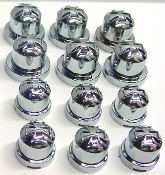 "Chrome Iron Cross 1/2"" Bolt & Nut Caps - Set of 12"