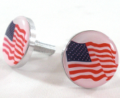 Polished Billet License Frame Bolts - Flag - American - 2