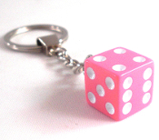 Chrome Key Chain - Dice - Pink