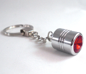 Chrome Key Chain - Swarovski Crystal - Red
