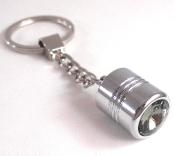 Chrome Key Chain - Swarovski Crystal - Smoked