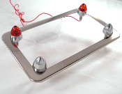 Chrome Motorcycle License Frame w/ Short Spike & Red LED Bolts