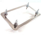 Chrome Motorcycle License Frame w/ Long Spike Bolts - Chrome
