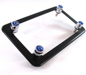 Flat Black Motorcycle Frame & Swarovski Crystal Bolts - Blue
