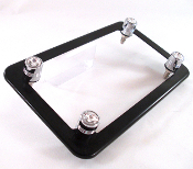 Flat Black Motorcycle Frame & Swarovski Crystal Bolts - Clear