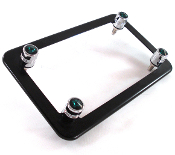 Flat Black Motorcycle Frame & Swarovski Crystal Bolts - Green