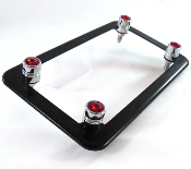 Flat Black Motorcycle Frame & Swarovski Crystal Bolts - Red