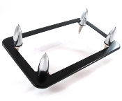 Flat Black Motorcycle License Frame w/ Chrome Fat Spike Bolts