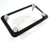 Flat Black Motorcycle License Frame w/ Chrome Short Spike Bolts