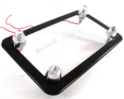 Flat Black Motorcycle Frame w/ Short Spike & White LED Bolts