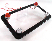 Flat Black Motorcycle Frame w/ Short Spike & Red LED Bolts
