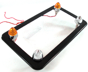 Flat Black Motorcycle Frame w/ Short Spike & Amber LED Bolts