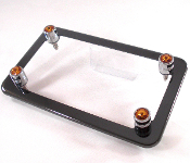 Black Chrome Motorcycle Frame & Swarovski Crystal Bolts - Amber