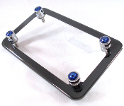 Black Chrome Motorcycle Frame & Swarovski Crystal Bolts - Blue