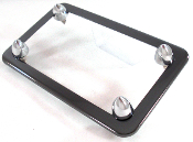 Black Chrome Motorcycle License Frame w/ Short Spike Bolts