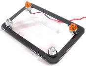 Black Chrome License Frame w/ Short Spike & Amber LED Bolts