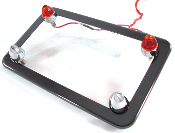 Black Chrome License Frame w/ Short Spike & Red LED Bolts