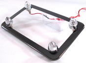 Black Chrome License Frame w/ Short Spike & White LED Bolts