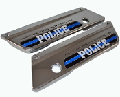 93-13 Saddlebag Latch Reflector Decals - Blue Line w Police