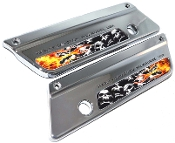93-13 Saddlebag Latch Reflector Decals - Skull Pile Flame Real