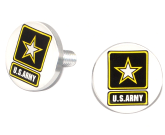 Polished Billet License Frame Bolts - Army Logo White - 2