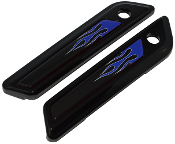 14-Up Saddlebag Latch Reflector Decals - Flame - Blue