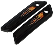 14-Up Saddlebag Latch Reflector Decals - Flame - Real
