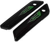 14-Up Saddlebag Latch Reflector Decals - Flame - Green