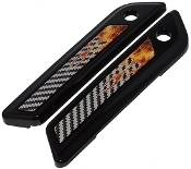 14-Up Saddlebag Latch Reflector Decals - Flame - CF Real