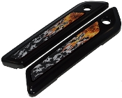 14-Up Saddlebag Latch Reflector Decals - Skull Pile w Flame Real