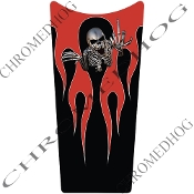 89-07 Road & Electra Glide Dash Insert Decal - Flame 2 Red Skel