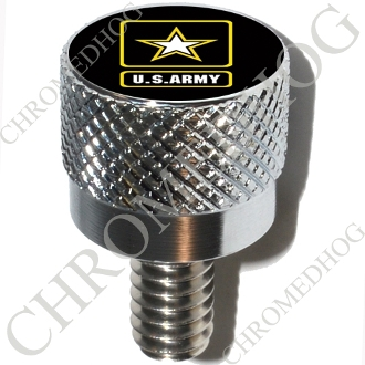 Harley Custom Seat Bolt - S KN Chrome Billet Army Logo - Black