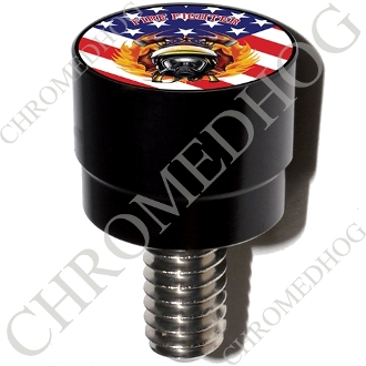 Harley Custom Seat Bolt - S SM Black Billet FireFighter - USFlag