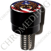 Harley Custom Seat Bolt - S SM Black Billet Eagle - US Flag