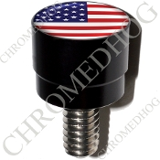 Harley Custom Seat Bolt - S SM Black Billet Flag - USA