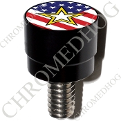 Harley Custom Seat Bolt - S SM Black Billet Army Star - US Flag
