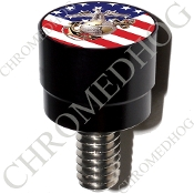 Harley Custom Seat Bolt - S SM Black Billet USMC EGA - US Flag
