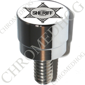 Harley Custom Seat Bolt - S SM Chrome Billet Sheriff Badge - Wht