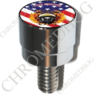 Harley Custom Seat Bolt - S SM Chrome Billet Fire Fighter - Flag