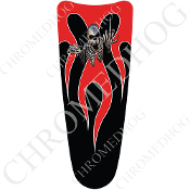 03-07 Ultra Classic CB Dash Insert Decal - Skeleton Flame - Red