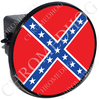 Custom Tow Hitch Cover Round Rebel Confederate Flag