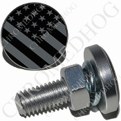 Sm Silver Billet License Plate Bolts - Flag - Ghost USA