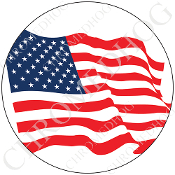 Premium Round Decal - Flag - American