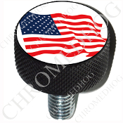 Harley Custom Seat Bolt - L KN Black Billet - Flag - American