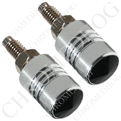 Chrome License Bolts w/ Black Swarovski Crystals - Set of 2