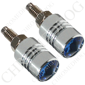 Chrome License Bolts w/ Blue Swarovski Crystals - Set of 2