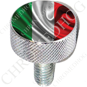 Harley Custom Seat Bolt - L KN Chrome Billet - Flag - Italy