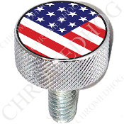Harley Custom Seat Bolt - L KN Chrome Billet - Flag - USA V